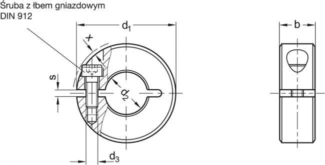 Pierścienie osadcze rozcięte GN 706.2-NI - rysunek techniczny