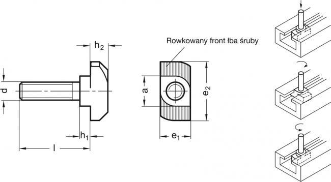 Śruby do rowków teowych GN 505.4 - rysunek techniczny