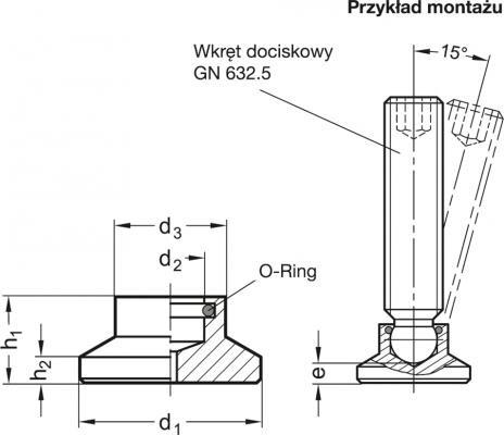 Stopki dociskowe GN 631.5 - rysunek techniczny