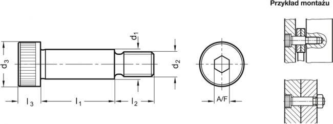 Śruba pasowana ISO 7379 - rysunek techniczny
