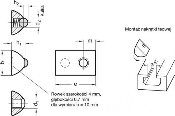 Nakrętki do rowków teowych GN 506.1-NI - rysunek techniczny