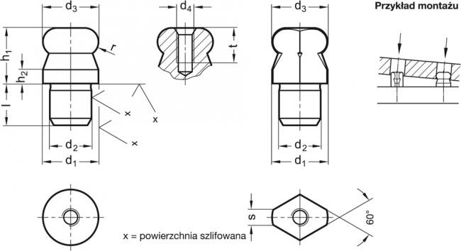 Sworzeń pozycjonujący GN 6322 - rysunek techniczny