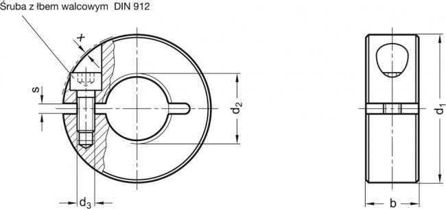 Pierścienie osadcze gwintowane GN 706.3-NI - rysunek techniczny
