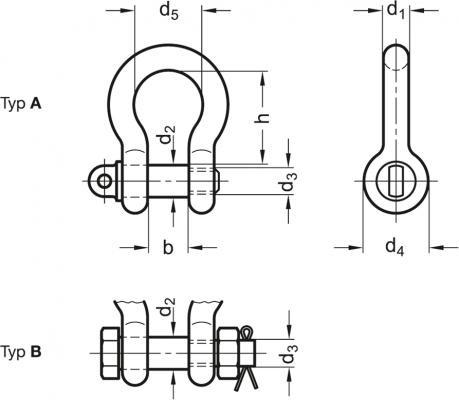 Szekle proste GN 585 - rysunek techniczny