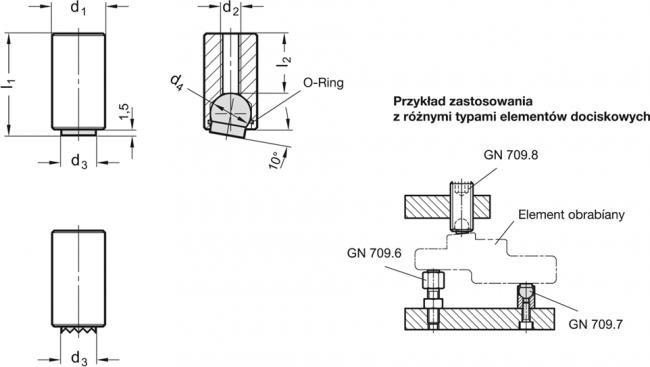 Element dociskowy GN 709.7 - rysunek techniczny