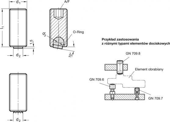 Element dociskowy GN 709.8 - rysunek techniczny