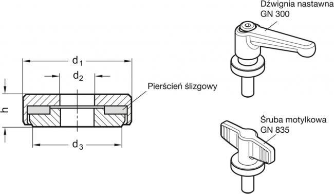 Podkładki łożyskowane GN 6342-NI - rysunek techniczny