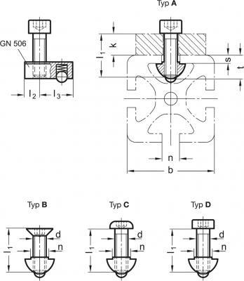 Zestawy montażowe do systemów profili 30 / 40 GN 965 - rysunek techniczny