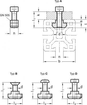 Zestawy montażowe do systemów profili 30 / 40 / 45 GN 968 - rysunek techniczny