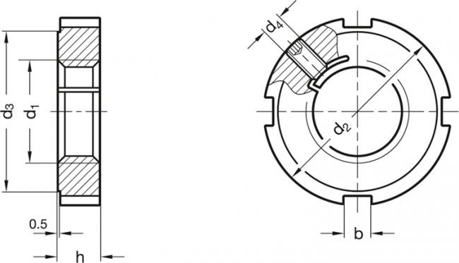 Nakrętki rowkowe z blokadą gwintu GN 1804.2 - rysunek techniczny