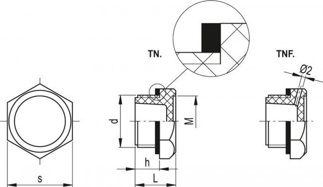 Korki TN - rysunek techniczny