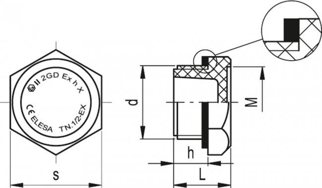 Korki TN-EX - rysunek techniczny