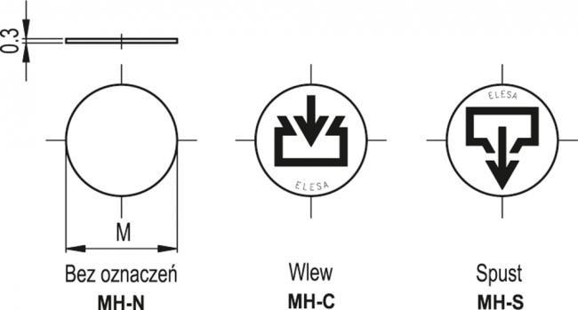 Aluminiowe tarcze z oznaczeniami do korków MH - rysunek techniczny