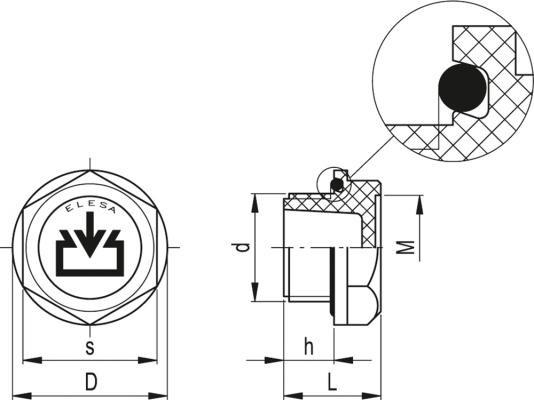 Korki wlewowe TCR - rysunek techniczny