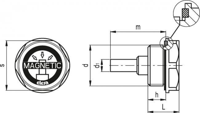 Korki magnetyczne TMB - rysunek techniczny