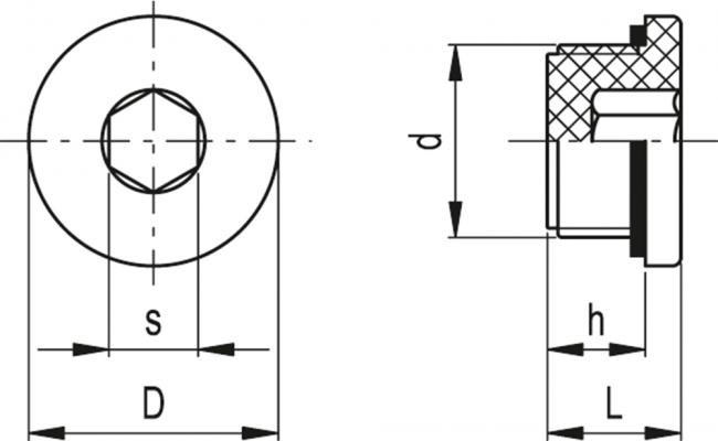 Korki z gniazdem sześciokątnym TCE - rysunek techniczny
