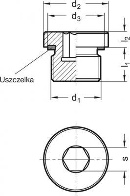 Korki z gniazdem sześciokątnym przeznaczone do wysokich ciśnień GN 749 - rysunek techniczny