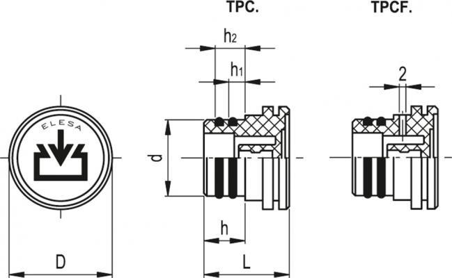 """Korki wlewowe mocowane """"na wcisk"""" TPC - rysunek techniczny"""