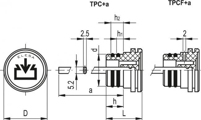 """Korki wlewowe mocowane """"na wcisk"""" z bagnetem TPC+a - rysunek techniczny"""
