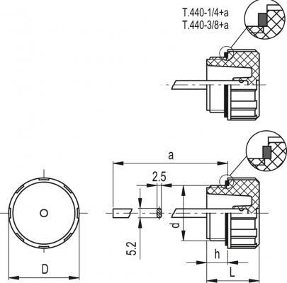 Korki z bagnetem T.440+a - rysunek techniczny