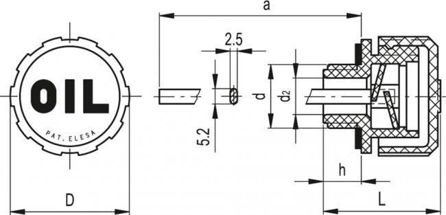 Korki odpowietrzające z bagnetem i osłoną przeciw bryzgową SFP+a - rysunek techniczny