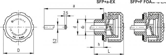 Korki odpowietrzające z osłoną przeciwbryzgową SFP+a-EX - rysunek techniczny