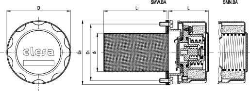 Korki z odpowietrzeniem lub z zaworem odpowietrzająco-ssącym z koszem wlewowym SMN-BA SMW-BA - rysunek techniczny