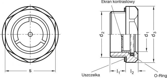 Wskaźniki poziomu GN 743.2 - rysunek techniczny