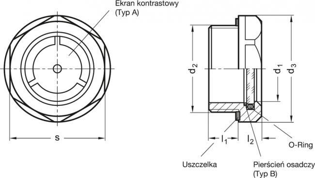 Wskaźnik poziomu GN 743.5-14-G1/2-A - rysunek techniczny