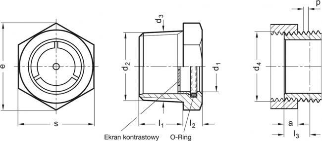 Wskaźniki poziomu GN 743.8 - rysunek techniczny