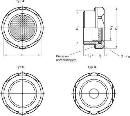 Wskaźniki poziomu z szybką pryzmatyczną GN 744 - rysunek techniczny