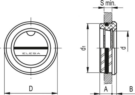 """Wskaźniki poziomu montowane """"na wcisk"""" HRT. - rysunek techniczny"""