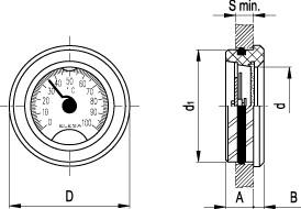 """Wskaźniki poziomu montowane """"na wcisk"""" HRT-T - rysunek techniczny"""