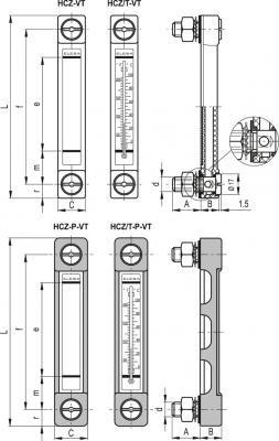 Kolumnowy wskaźnik poziomu HCZ.76/T-P-VT-M12 - rysunek techniczny