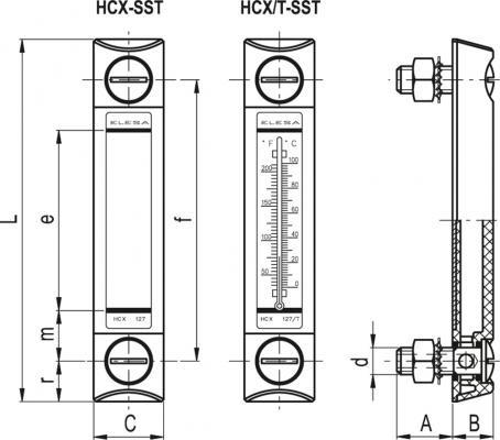Kolumnowe wskaźniki poziomu HCX-SST - rysunek techniczny