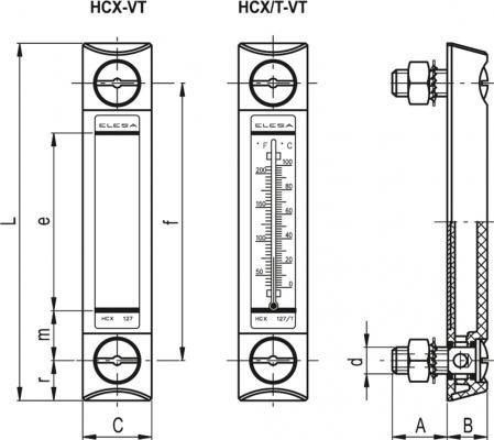 Kolumnowe wskaźniki poziomu ze śrubami montażowymi z technopolimeru HCX-VT - rysunek techniczny