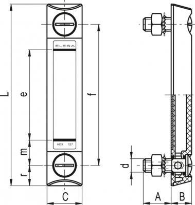 Kolumnowe wskaźniki poziomu cieczy HCX-BW-SST - rysunek techniczny
