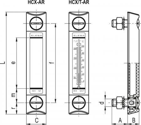Kolumnowe wskaźniki poziomu odporne na działanie alkoholu HCX-AR - rysunek techniczny