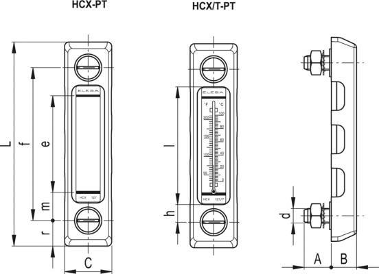 Kolumnowe wskaźniki z osłoną wykonaną z SUPER-technopolimeru HCX-PT - rysunek techniczny