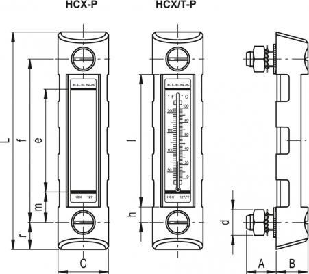 Kolumnowe wskaźniki poziomu z osłoną HCX-P - rysunek techniczny