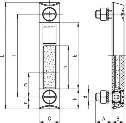 Kolumnowe wskaźniki poziomu z pływakiem HCX-LT - rysunek techniczny