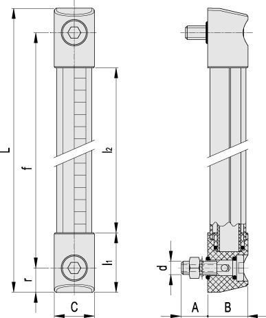 Kolumnowe wskaźniki poziomu do roztworów glikolu (patent Elesa) HCK-GL