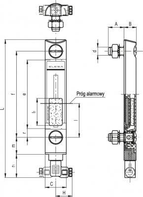 Kolumnowe wskaźniki poziomu z czujnikiem poziomu Min. HCX-E - rysunek techniczny