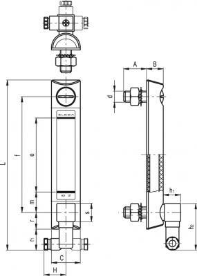 Kolumnowy wskaźnik poziomu HCX.254-ST-NO-M12 - rysunek techniczny