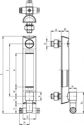 Kolumnowe wskaźniki poziomu z elektrycznym pomiarem temperatury HCX-STL - rysunek techniczny