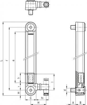 Kolumnowe wskaźniki poziomu z czujnikiem poziomu MIN. i temperatury MAX. HCY-E-ST - rysunek techniczny