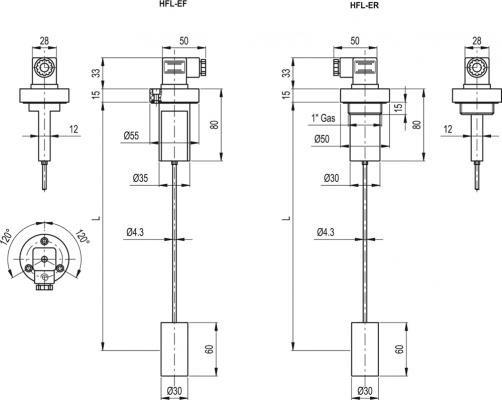 Kolumnowe wskaźniki poziomu z czujnikiem poziomu MIN. HFL-E - rysunek techniczny