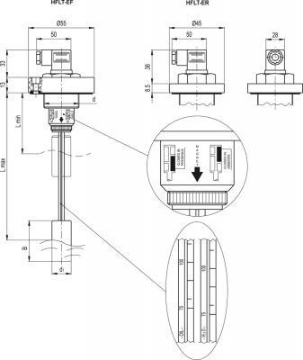 Wskaźniki z czujnikiem poziomu i pływakiem HFLT-E - rysunek techniczny