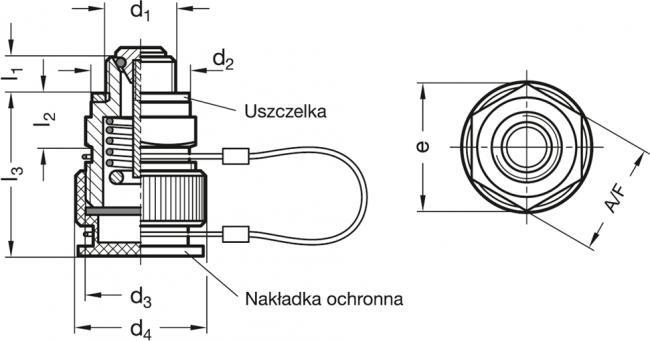 Zawory spustowe GN 880 - rysunek techniczny