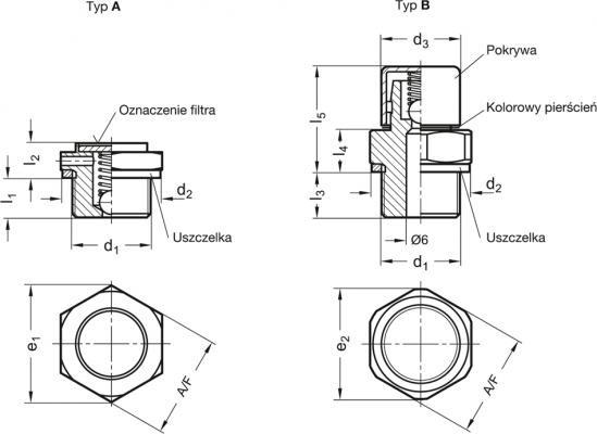 Zawór odpowietrzający GN 883-G1/4-160-B-MS - rysunek techniczny